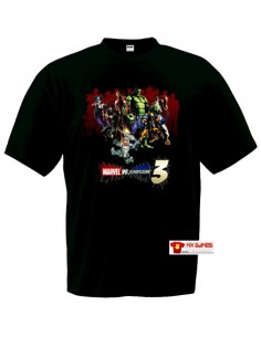 Camiseta Marvel vs Capcom 3 (art) Manga Corta Negra