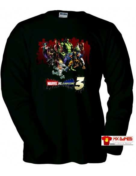 Camiseta Marvel vs Capcom 3 (art) Manga Larga Negra