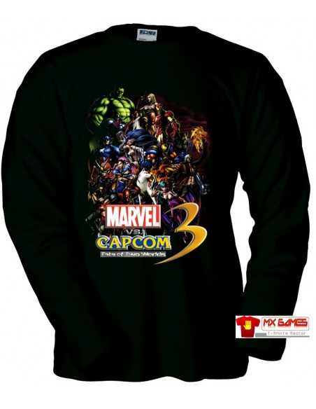 Camiseta Marvel vs Capcom 3 personajes Manga Larga Negra