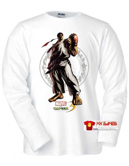 "Camiseta Marvel vs Capcom 3 ""Ryu"" Manga Larga Blanca"