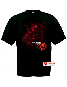 Camiseta Gears of War (Markus red)negra manga corta.