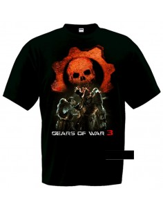 Camiseta Gears of War 3 (Lancer saw)negra manga corta