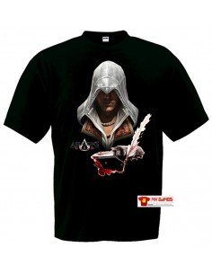 Camiseta Assassins Creed (Ezio pluma) Negra