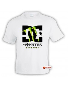 Camiseta Monster Energy-DC Shoes Blanca