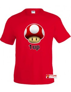 Camiseta Super Mario 1Up roja manga corta