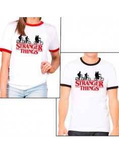 Camiseta Stranger Things Ringer Logo Bicis