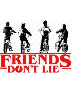 Camiseta Unisex Stranger Things Ringer 80s Friends Dont N Lie