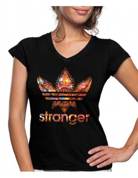 Camiseta Stranger Things de mujer Estilo Adidas Luces