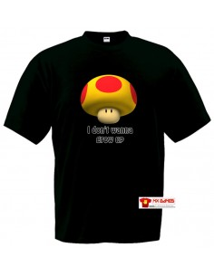 Camiseta Super Mario Grow up ,negra manga corta