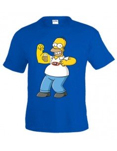 "Camiseta Homer Simpson ""Biceps"" Azul Royal"