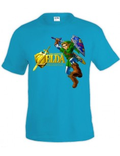 Camiseta Zelda Ocarina Of Time (Gold) Azul manga corta