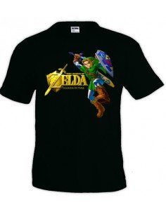 Camiseta Zelda Ocarina Of Time (Gold)Negra manga corta