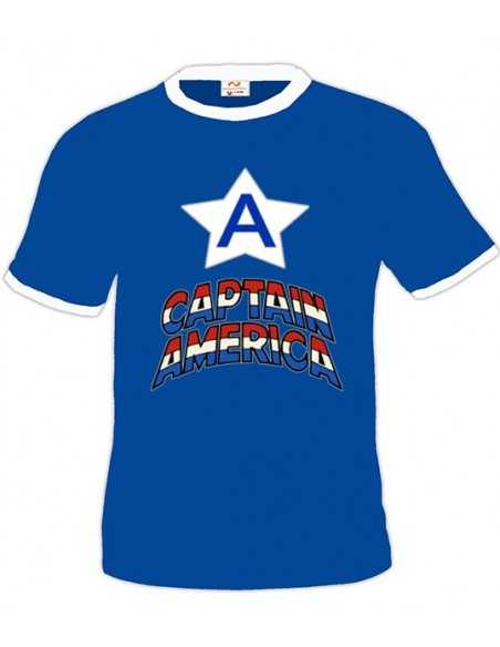Camiseta Capitan America (A) Azul Royal Modelo Boston