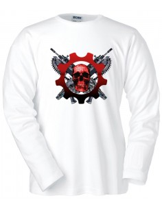 Camiseta Gears of War 3 Human Scull manga larga blanca