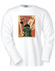 Camiseta Doctor Who Dalek to Victory blanca manga larga