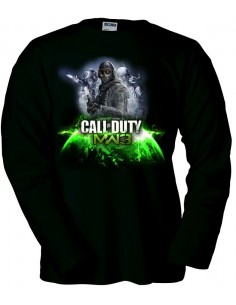 Camiseta modern Warfare 3 Ghost-Earth negra manga larga