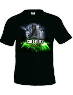 Camiseta modern Warfare 3 Ghost-Earth negra manga corta