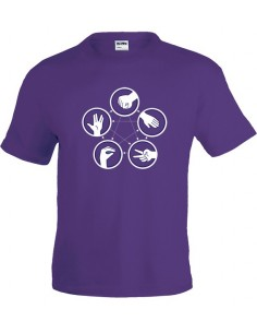 Camiseta The Big Bang Theory piedra,papel,tijera manga corta violeta