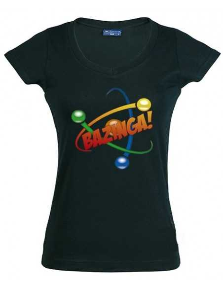 Camiseta chica The Big Bang Theory, Bazinga atom negra