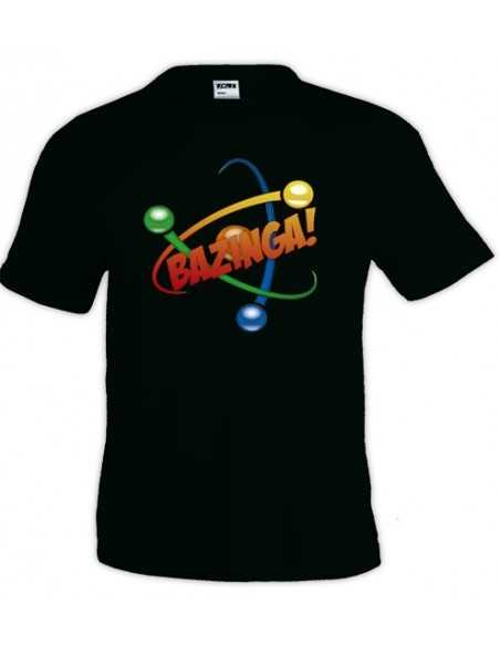 Camiseta The Big Bang Theory, Bazinga atom negra manga corta