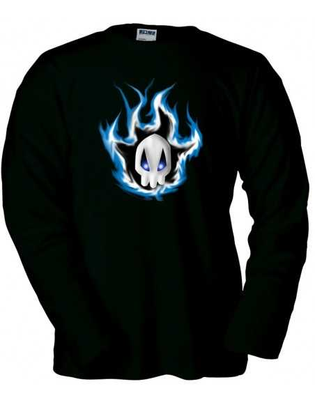 Camiseta Bleach blue skull manga larga