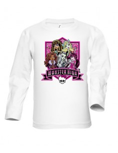 Camiseta Monster High manga larga blanca infantil