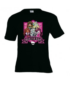 Camiseta Monster High manga corta negra infantil