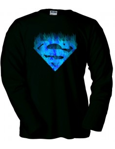 "Camisetas Superman logo ""fuego azul"" manga larga"