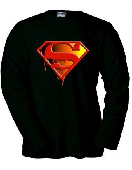 Camiseta Superman logo muerte de Superman manga Larga