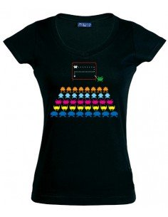 Camiseta space inveders -teacher- negra manga corta chica