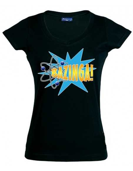 Camiseta Sheldon Big Bang theory -Bazzinga Estallido- manga corta negra de chica