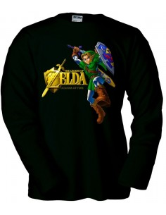 Camiseta Zelda Ocarina Of Time (Gold) Negra manga larga