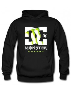 Sudadera Monster Energy DC custom con capucha negra