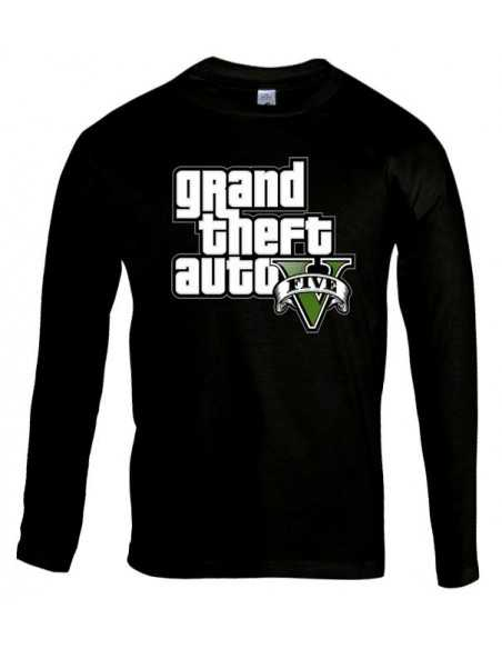 Camiseta Grand Theft Auto 5 -logo gta- manga larga negra