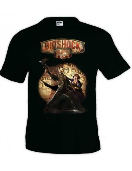 "Camiseta Bioshock infinite diseño ""WANTED""color negro manga corta"