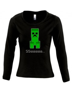 Camiseta Minecraft -Creeper Sssss- de chica manga larga