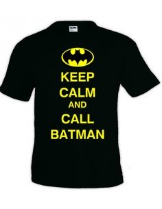 Camiseta Keep Calm and Call Batman negra manga corta