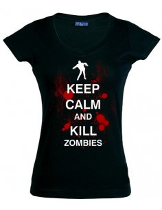 Camiseta Mujer Keep Calm and Kill Zombies manga corta - Mx Games