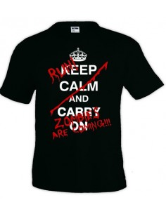 Camiseta Keep Calm and carry on Zombies manga corta - Mx Games