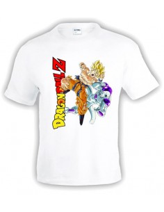 Camiseta Dragon Ball Z Goku Vs Freezer, Blanca | Mx Games