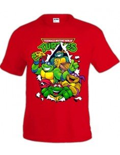 Camiseta Tortugas Ninja Pizza en color rojo manga corta | Mx Games