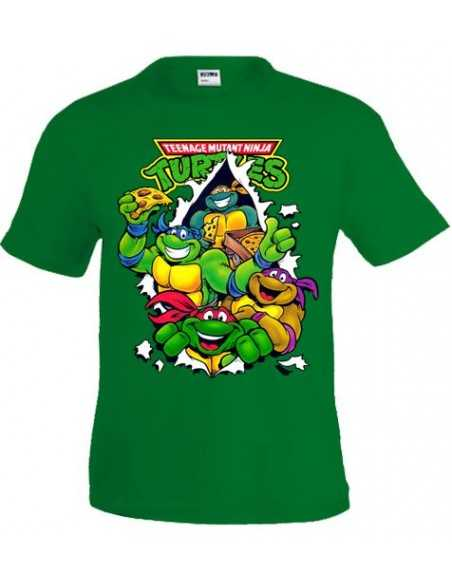 Camiseta Tortugas Ninja Pizza en color verde manga corta | Mx Games