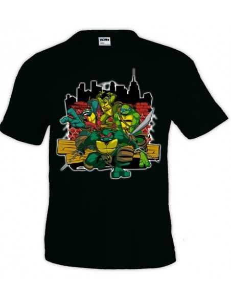 Camiseta Tortugas Ninja ciudad color negro | Mx Games
