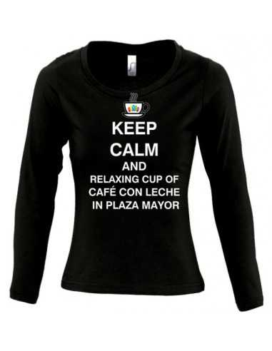 Camiseta Keep calm and relaxing cup cafe con leche in plaza mayor de mujer manga larga