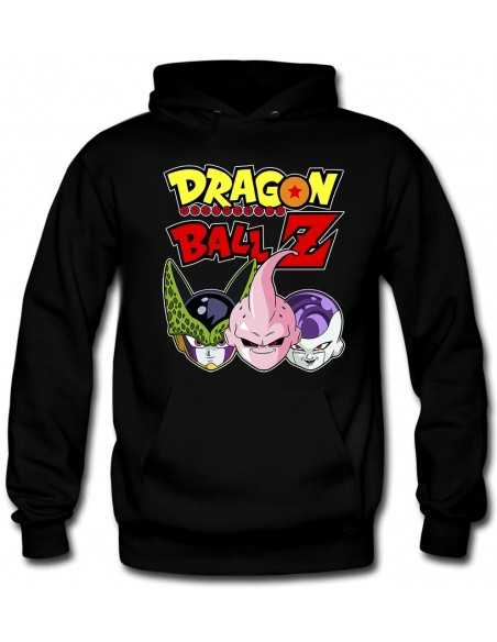 Sudadera Dragon Ball-Z capucha con Celula,Buu,freezer color negra | Mx Games