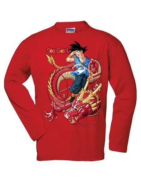 Camiseta Dragon Ball Son Goku - Dragon Senronz rojo manga larga roja