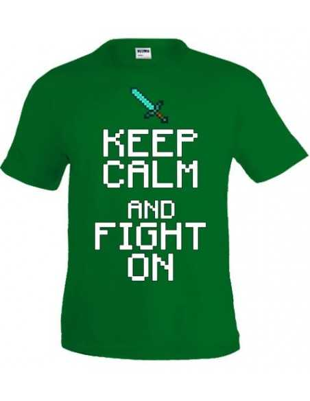 Camiseta minecraft Keep Calm Fight On color verde - Mxgames