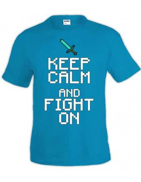 Camiseta minecraft Keep Calm Fight On color azul - Mxgames