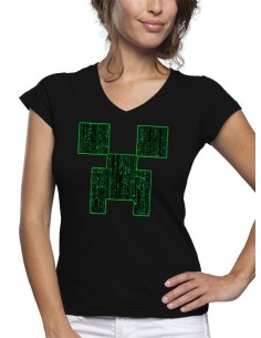 Camiseta Minecraft de mujer Creeper-Matrix color negro manga corta