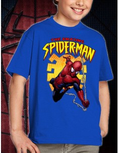 "Camiseta Amazing Spiderman niño modelo ""Spider"" color azul unisex"